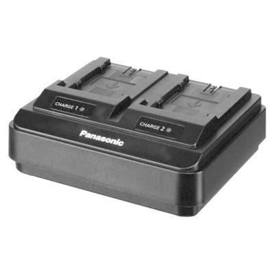 Das Panasonic AG-BRD50 ist ein Dual Ladegerät für den Akku, welches beim Verleih mitgeliefert wird.